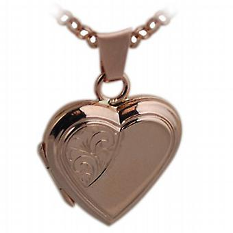 9ct Rose Gold 17x17mm engraved heart shaped Locket with belcher Chain 24 inches