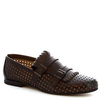 Leonardo Schuhe Herren handgemachte doppelte Mönch Mokassins aus braunem Leder gebohrt