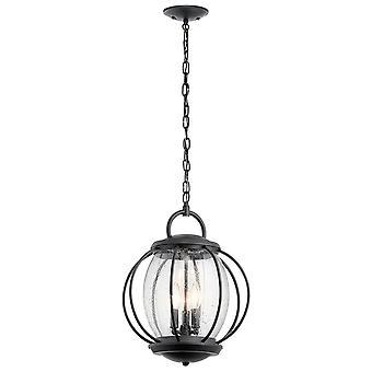 Elstead-3 lys middels kjede lanterne-teksturert svart finish-KL/VANDALIA8/L