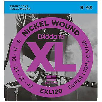 D'Addario Nickel Wound Electric Guitar Strings Super Light 09-42