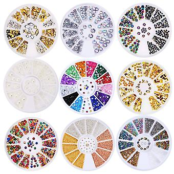 Nail Art Decor Accessories Nail Rhinestones and Metal Beads 6 Wheels
