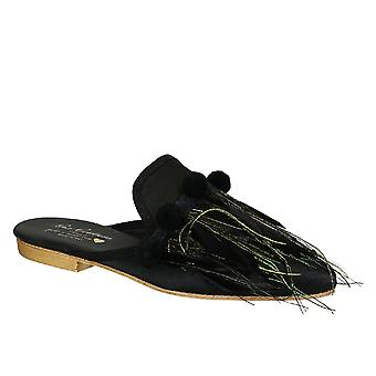 Gia Couture Venussatinb Women's Black Leather Slippers