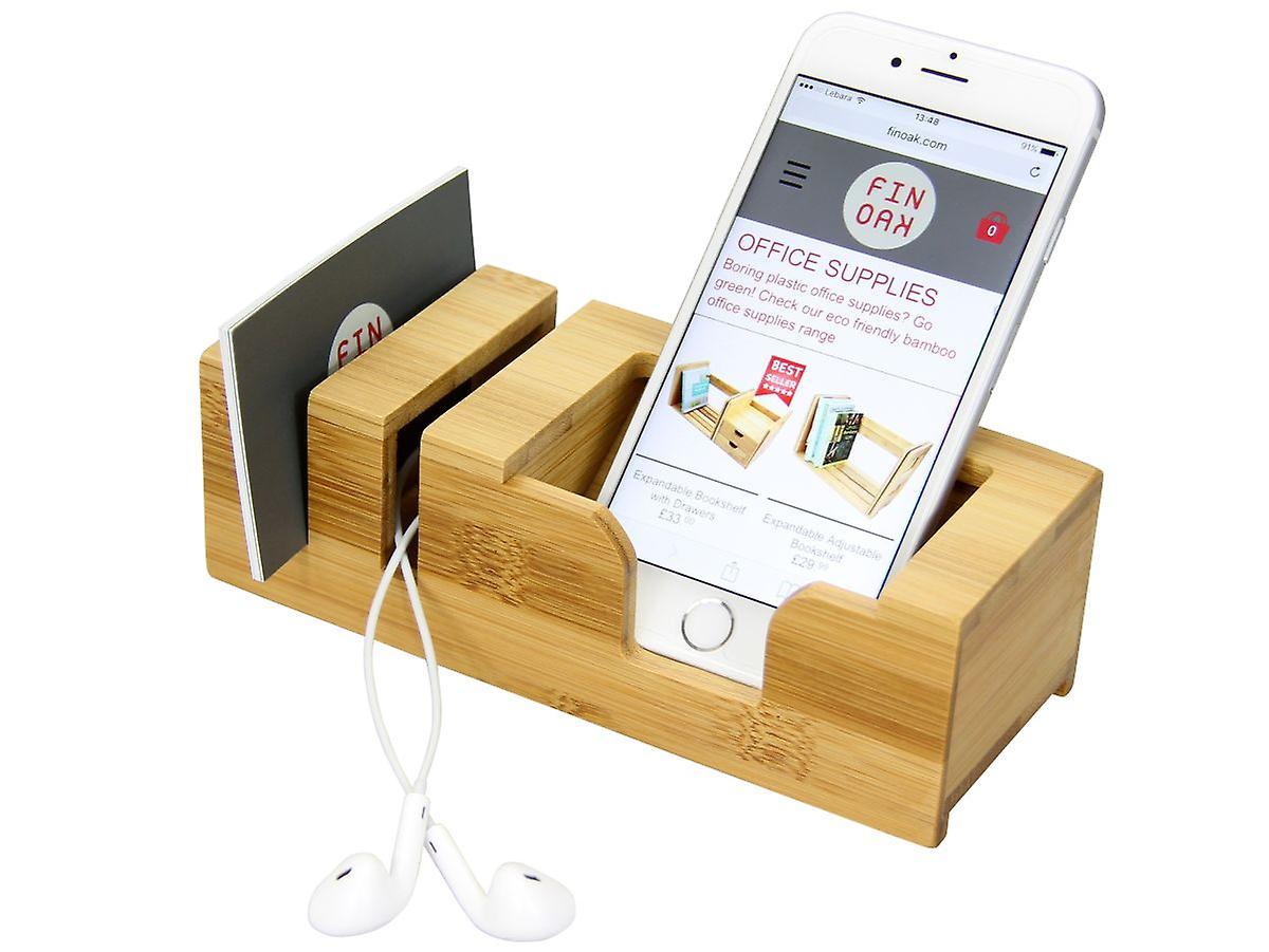 Woodquail Bamboo Desk Mobile Phone Stand Holder Display Desktop Tidy Organiser