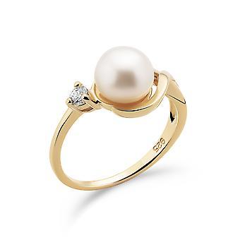 Orphelia 925 srebrny pierścień żółty z perłą słodkowodną i cyrkonem