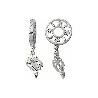 Storywheels prata & Diamond Pisces Zodiac Dangle charme S192D