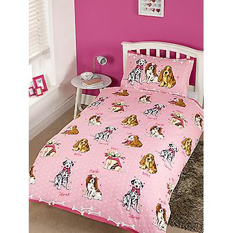 Doggies Pink 4 in 1 junior beddengoed bundel set (dekbed, kussen, covers)