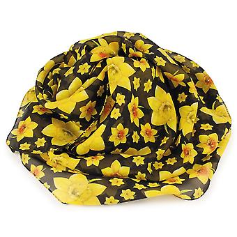 Eternal Collection Welsh Daffodil Yellow And Black Multi Coloured Pure Silk Scarf