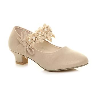 Ajvani girls low heel lace strap mary jane party formal shoes