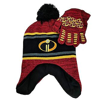 Beanie cap-Disney-Incredibles 2-Red & Mittens set 358492