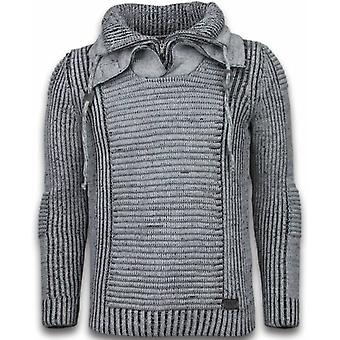 Knitted Sweater - Double Scarf Collar Zipper - Grey