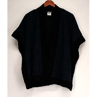 Slinky Sweater XS/S Boucle Drape Front Cape Dark Blue / Black Womens 504-606
