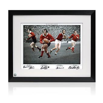Wales rugby photo signed by Gareth Edwards, JPR Williams, Phil Bennett and Barry John. Framed