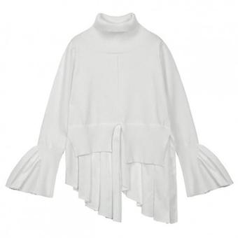 Turtleneck Flare Sleeve Ruffles Patchwork Draped Irregular Blouse