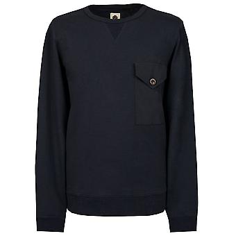 PRETTY GREEN Navy Tissé Pocket Crew Neck Sweat