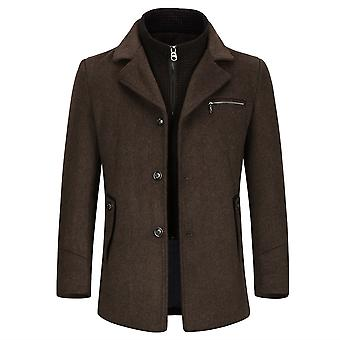 Allthemen Men's Detachable Lining Business Casual Wool Blend Overcoat