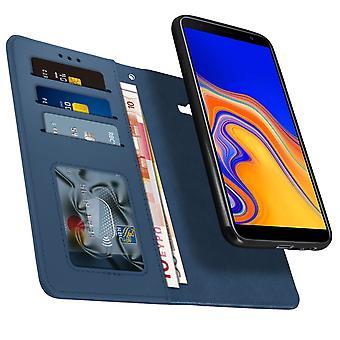 Étui Samsung Galaxy J4 Plus Folio Détachable Magnétique Porte cartes bleu nuit