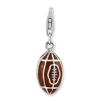 925 Sterling Silver Fancy Lobster Closure Rhodium plated 3 d Enameled Football With Lobster Clasp Charm Pendant Necklace