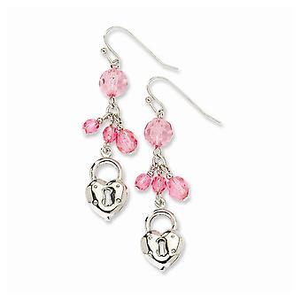 Silver ton polerad Shepherd krok Love Heart och lås med rosa kristaller örhängen smycken gåvor för kvinnor