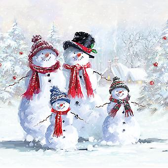 Ambiente 3 Ply Paper Napkins, Snowmen with Hats