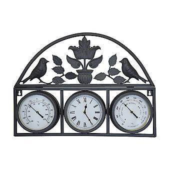 Charles Bentley lurvet chic mørkegrå vægur med termometer & hygrometer
