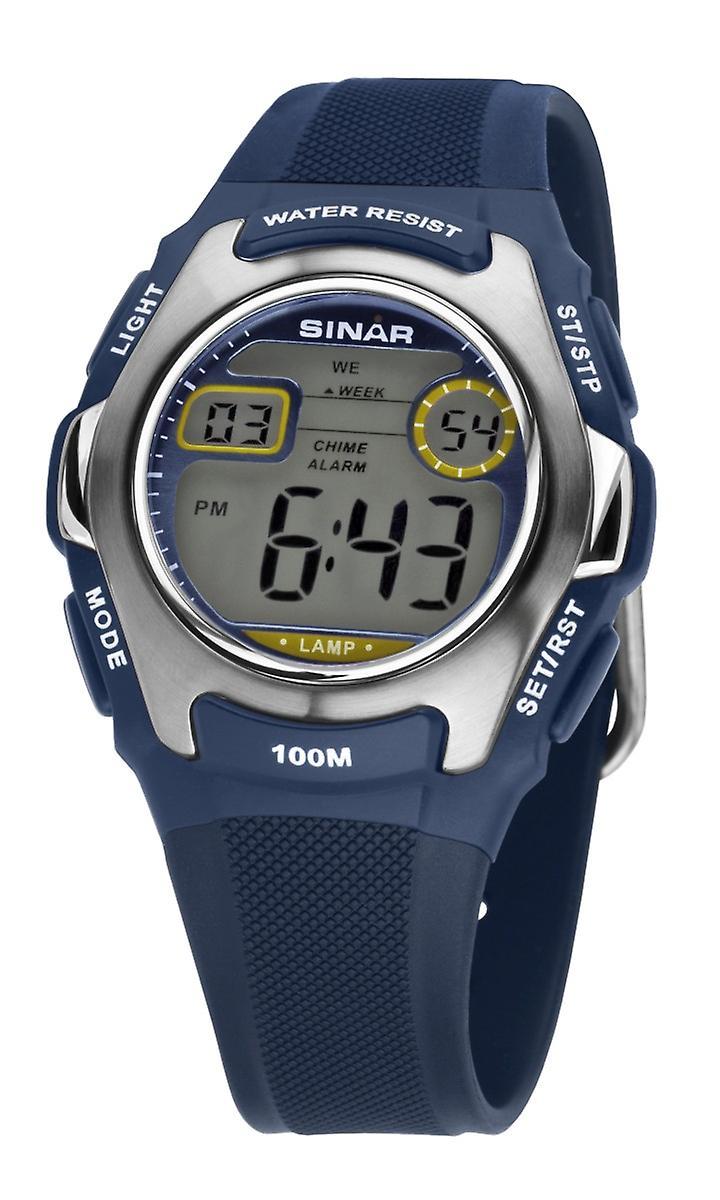 SINAR Jugenduhr Kinder Armbanduhr Digital Quarz Silikon XE-50-2 blau silber