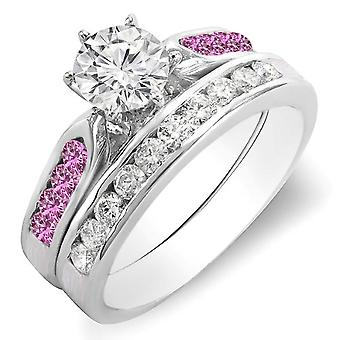 Dazzlingrock Collection 14K Round Pink Sapphire & White Diamond Ladies Engagement Ring Set 1 CT, White Gold