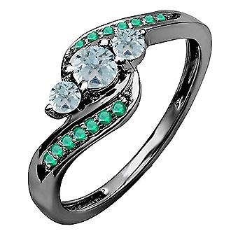 Dazzlingrock Collection 0.50 Carat (ctw) Black Rhodium Plated 10K Aquamarine & Tsavorite Ring 1/2 CT, White Gold