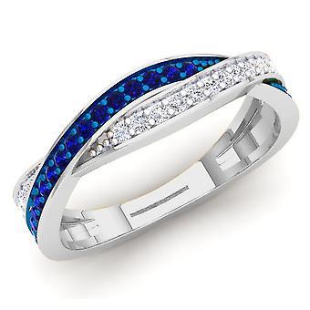 Dazzlingrock Collection 14K Blue Sapphire & White Diamond Ladies Anniversary Wedding Swirl Stackable Band, White Gold