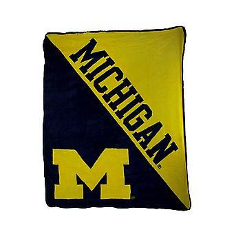 NCAA University of Michigan Micro Raschel Plush Throw Blanket