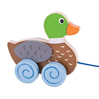 Bigjigs Toys Wooden Duck Pull Along Walker Toy Mobility Walk