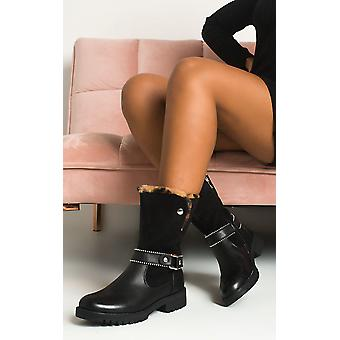 IKRUSH Womens Bell Faux Fur Buckle Boots