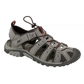 PDQ Ken Boys Nubuck Toggle & Velcro Summer Trail Sandals Grey/red