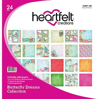 "Heartfelt Creations Double-Sided Paper Pad 12""X12"" 24/Pkg-Butterfly Dreams, 12 Designs/2 Each"