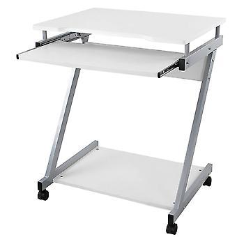 Kompakter Computertisch auf Rädern-schwarz, weiß oder Buche