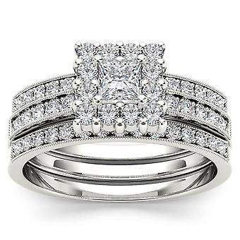 Igi gecertificeerd 14k witgoud 0,87 ct prinses diamond halo verlovingsring set