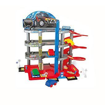 Mochtoys 10336 Aparcamiento infantil, 4 niveles, gasolinera, ascensor, ascensor, 4 coches
