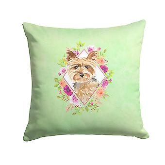 Carolines Treasures  CK4357PW1414 Yorkie Green Flowers Fabric Decorative Pillow