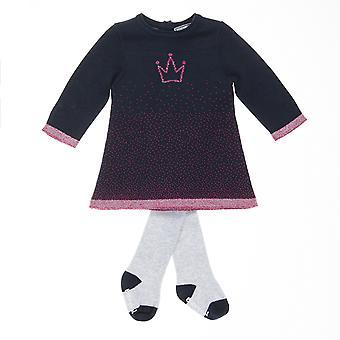 Babysphere azul meninas vestido + meia-calça