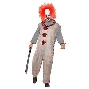 Vintage Clown Kostium Dorosły Szary / Czerwony