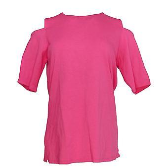 Belle by Kim Gravel Women's Top Triple Luxe Knit Elbow Sleeve Pink A301607