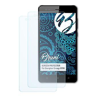 Bruni 2x Screen Protector kompatibel med Energizer Energy S550 Beskyttende Film