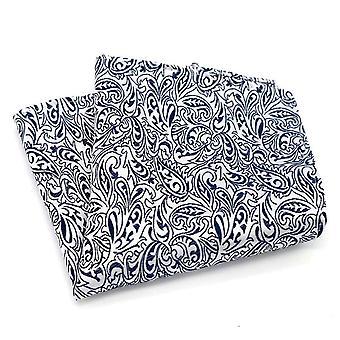 Diep blauw paisley & wit detail patroon zak plein