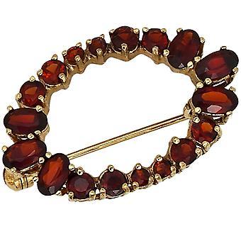 Brooch Garnet 375 gold yellow gold 18 grenade red gold brooch Garnet jewelry