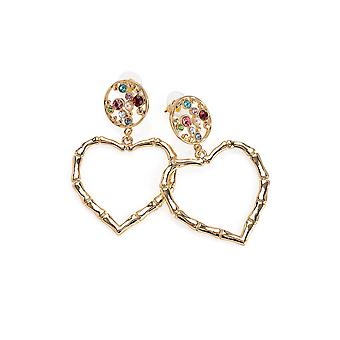 Gold Heart Earrings with Crystal Detailing