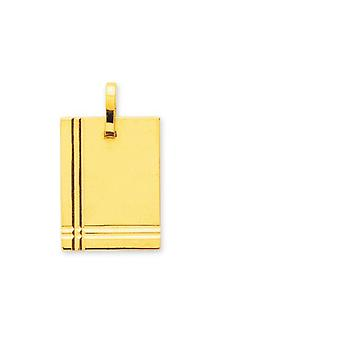 Pendentif Plaque rectangle PM Or 375/1000 jaune  (9K)