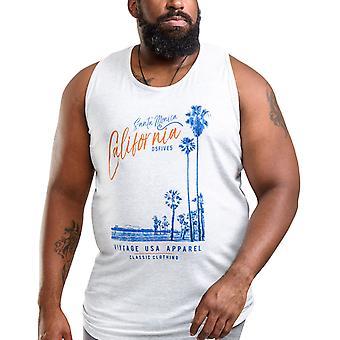 Duke D555 Mens Henry Big Tall King Size Summer Tank Vest Top - Off White Marl