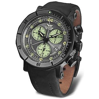 Vostok lunokhod-2 Chrono Quartz Analog Man Watch with Cowhide Bracelet 6S30-6204212