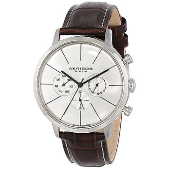 Akribos XXIV men s STAINLESS steel watch, Ultimate with leather band