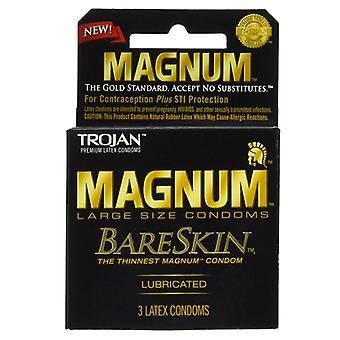 Magnum bareskin stor størrelse latex kondomer, smurt, 3 ea
