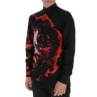 Alexander Mcqueen 609036qoq161004 Men's Black Cotton Shirt